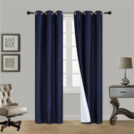 NAVY BLUE 1-Piece Noa Solid Blackout Grommet-Top Window Curtain Panel 37