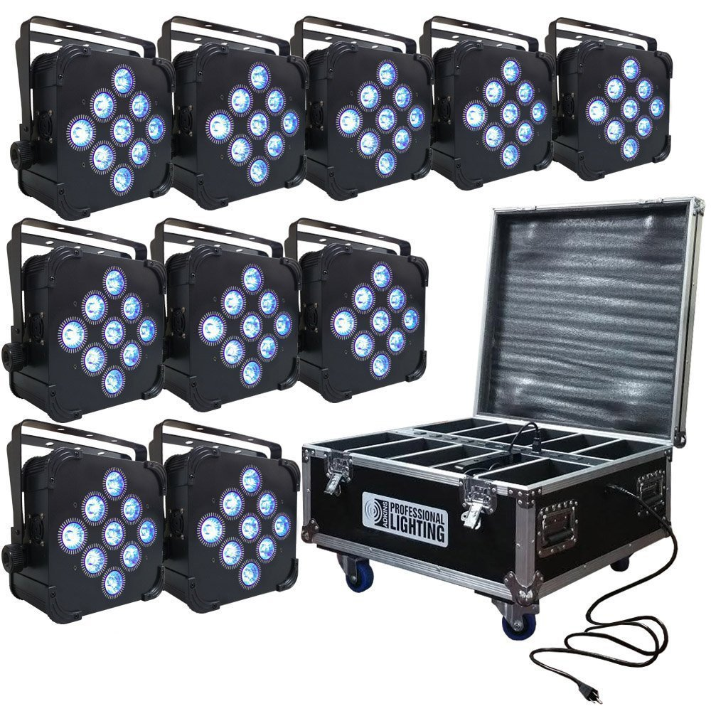 led battery powered wireless dmx 10 up lights with case 9x5w rgbaw up lights dj lighting. Black Bedroom Furniture Sets. Home Design Ideas