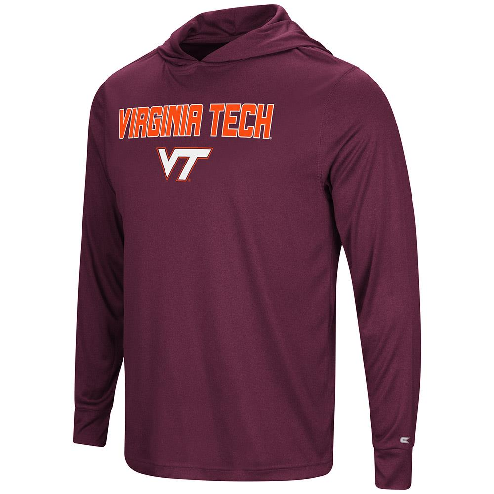 Mens Virginia Tech Hokies Long Sleeve Hooded Tee Shirt - S