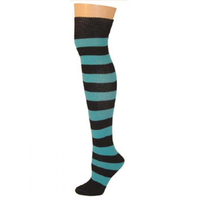 AJs A51234 Striped Socks - Black-Turquoise
