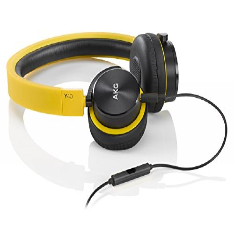 AKG Y40 Yellow Mini On-Ear Headphone with Remote/Microphone and Detachable Cable, Yellow