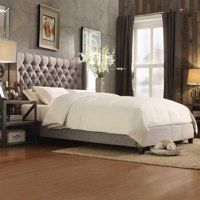 Weston Home Melford Wingback Tufted Linen Bed, Multiple Colors and Sizes