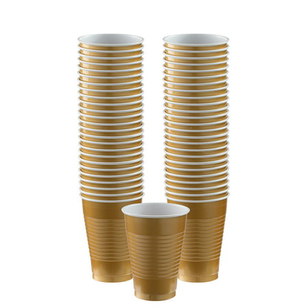 Gold 12oz. Plastic Cup (50 Pack) - Party Supplies - Plastic Gold Cups