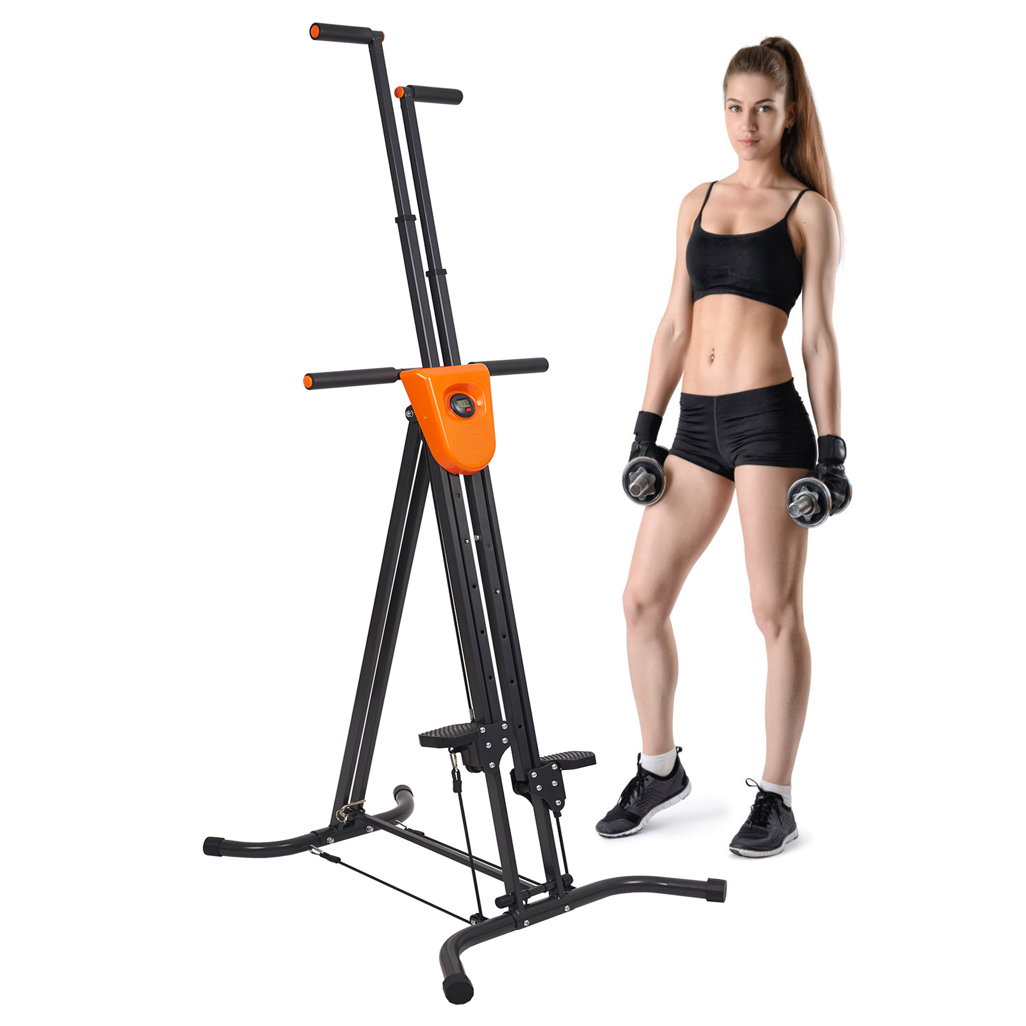 KARMAS PRODUCT Vertical Climber Stair Climber Exercise Climbing Machine Home Gym Fitness Folding Stair Stepper Adjustable Height for Women Man Full Total Body Workout