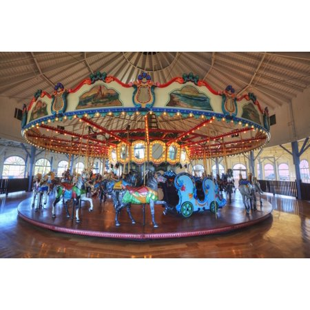 Loof Hippodrome carousel with 45 hand carved horses built in 1916 Santa Monica Pier Santa Monica California United States of America Stretched Canvas - Richard Maschmeyer  Design Pics (18 x 12)