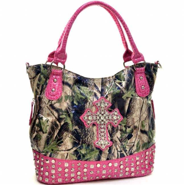 Ritz Enterprises CRL662-PK-CAM Western Camouflage Cross Accent Rhinestone Bling Purse - Pink & Camo