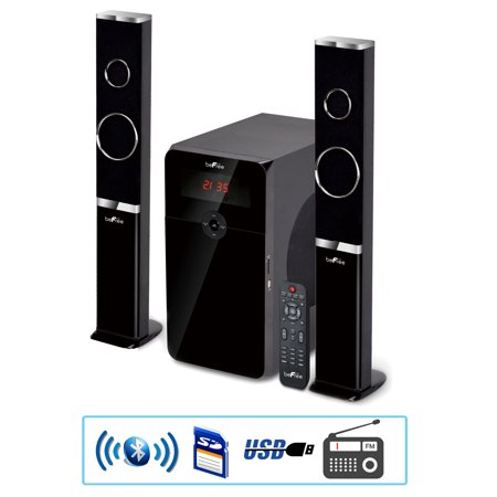 - beFree Sound 2.1 Channel Multimedia Wired Speaker Shelf System with SD and USB Input