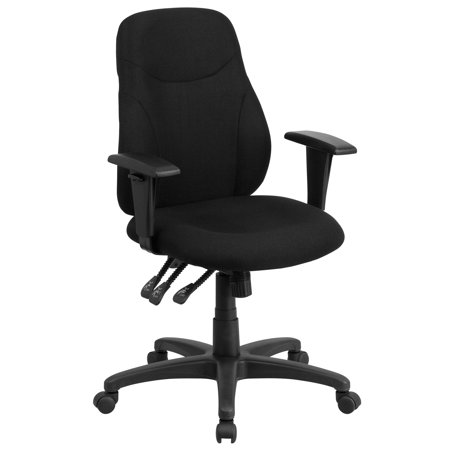 Flash Furniture Mid-Back Black Fabric Multi-Functional Ergonomic Swivel Task Chair with Height Adjustable Arms