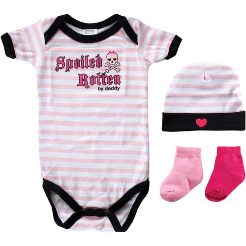 Luvable Friends Newborn Baby Girl Rebel Baby 4-Piece Giftset, Girl