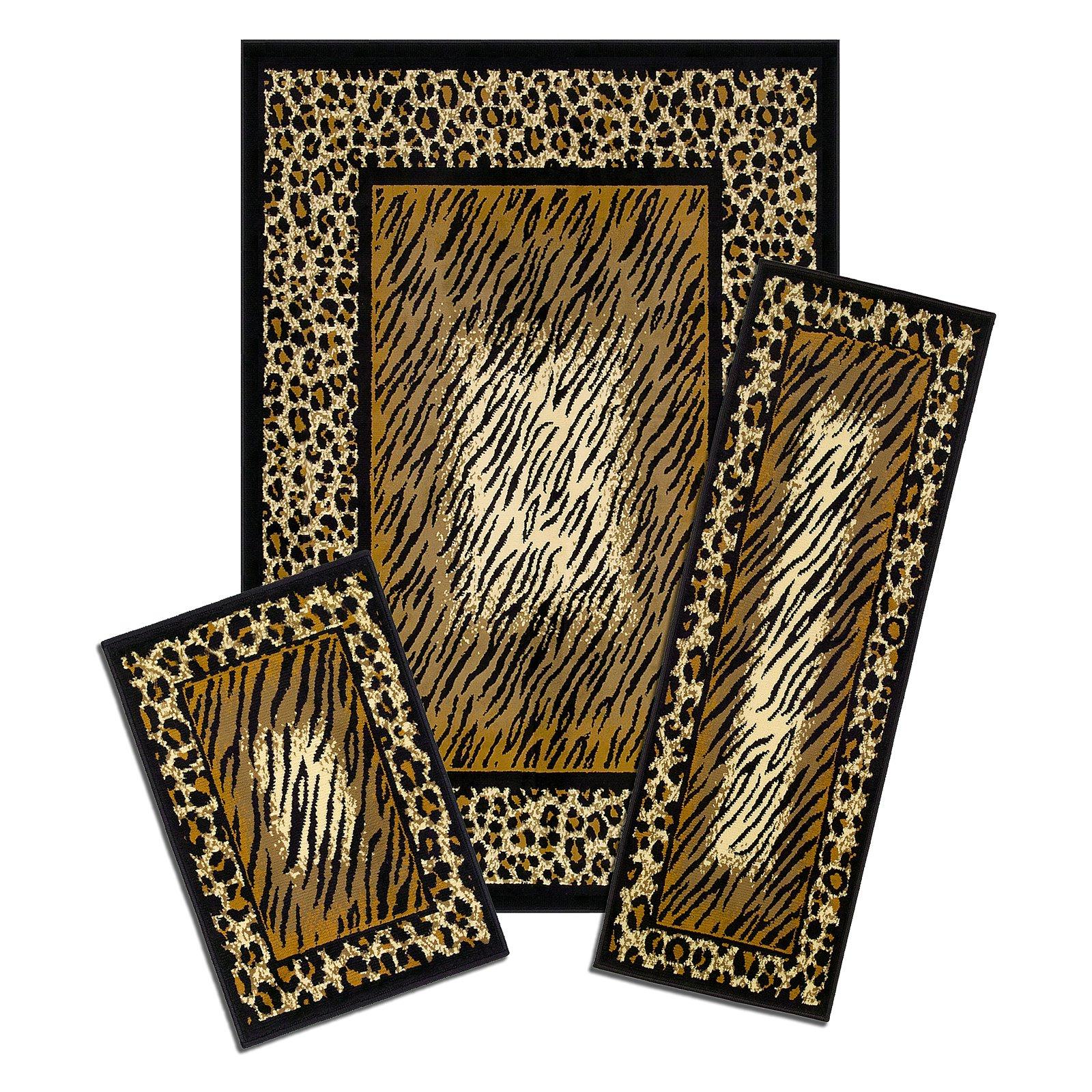 Capri 3 Piece Rug Set, Leopard Skin