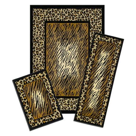 Capri 3 Piece Rug Set, Leopard