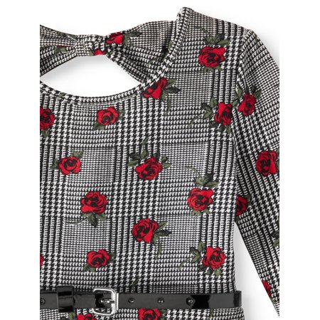 Floral Dress For Girls (Star Ride Plaid Floral Print Bow Back Dress (Little Girls & Big)