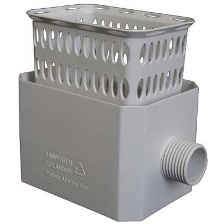 Rainwater Harvesting Barrel - Catch A Raindrop Harvesting Rainwater Colander, White, Fits Most 3 x 4-In. Downspouts