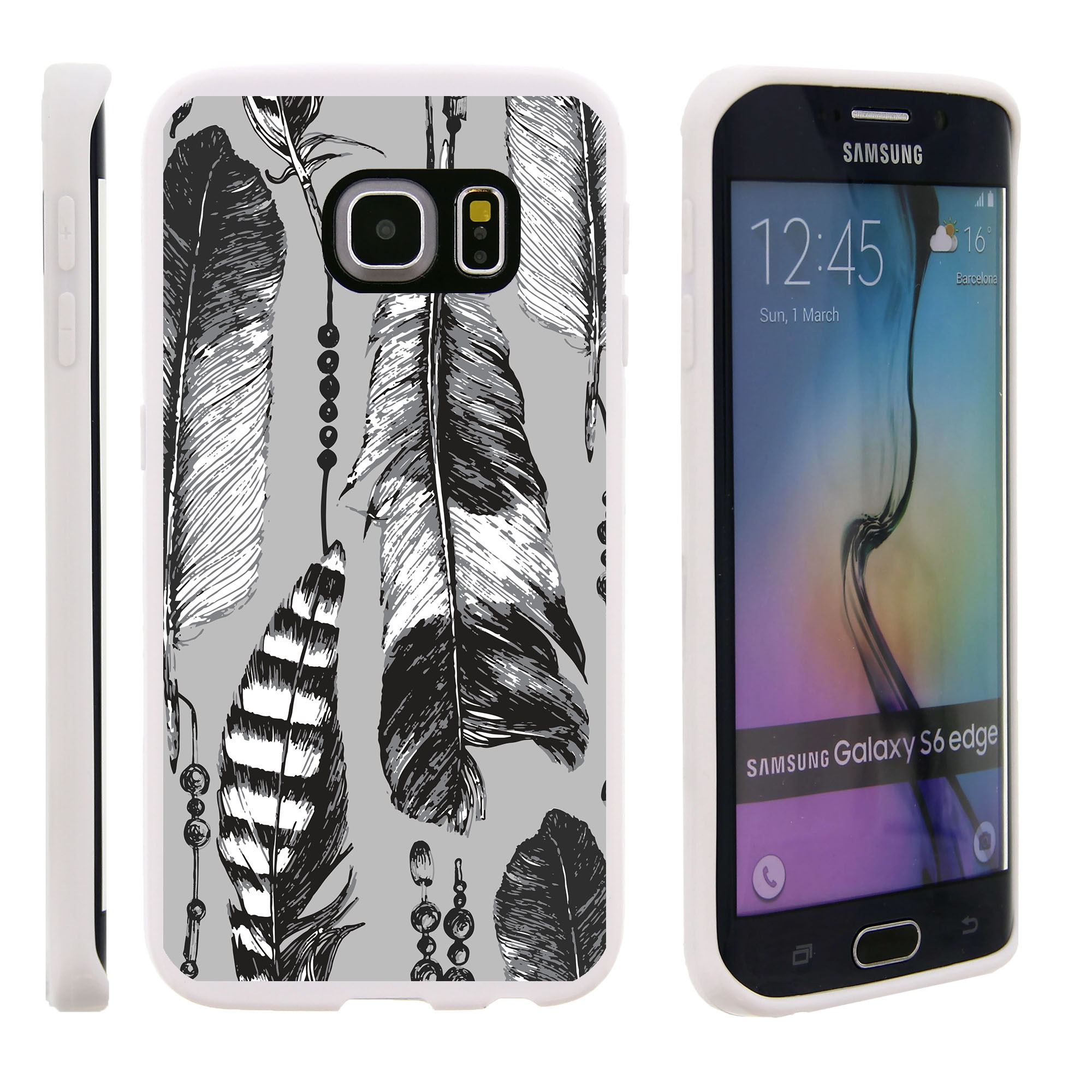 Samsung Galaxy S6 Edge G925, Flexible Case [FLEX FORCE] Slim Durable TPU Sleek Bumper with Unique Designs - Black and White Feathers