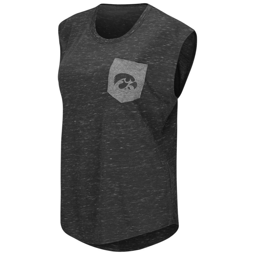 University of Iowa Hawkeyes Ladies Pocket Tee Heathered Vintage T-Shirt