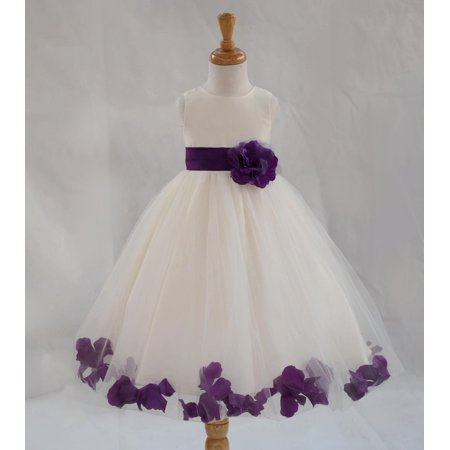 73e5f3a3de2 Ekidsbridal Formal Poly Satin Rose Petals Tulle Ivory Flower Girl Dress  Bridesmaid Wedding Pageant Toddler Recital Easter Communion Graduation  Reception ...