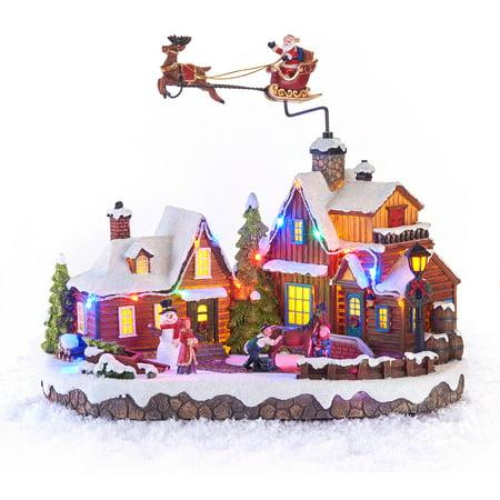 holiday time christmas decor 103 animated musical light up flying santa village scene