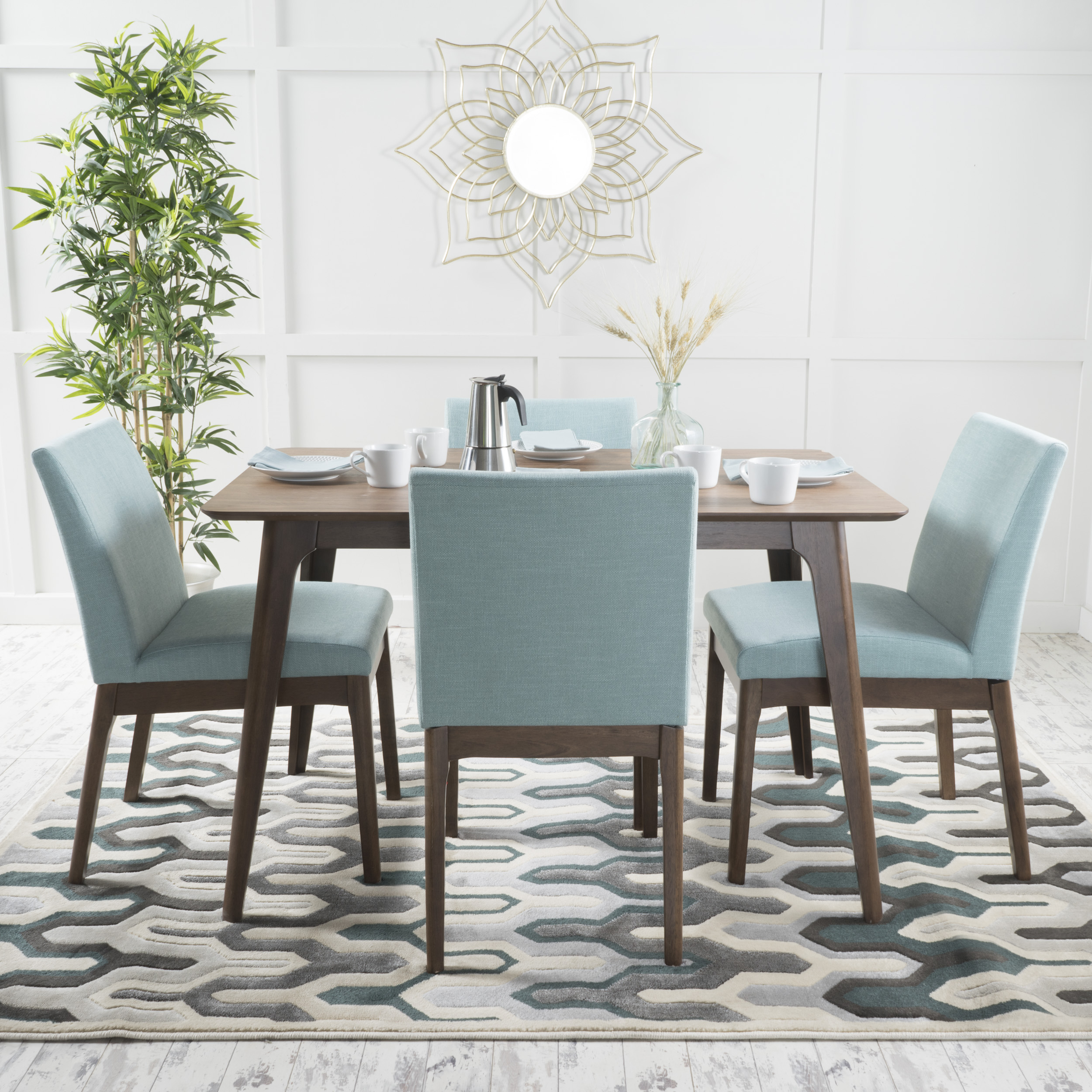 Noble House Caruso Natural Walnut Oak Wood Mint 5 Piece Dining Set
