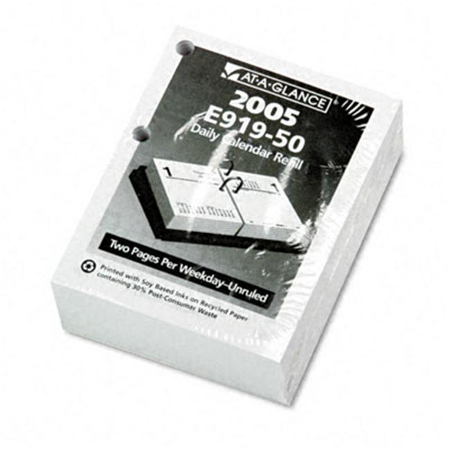 At-A-Glance E91950 Compact Unruled Daily Desk Calendar Refill  3w x 3-3/4h