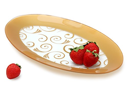 GAC Tempered Glass Oval Platter Serving Tray and Decorative Plate Unbreakable - Chip Resistant - Oven  sc 1 st  Walmart.com & GAC Tempered Glass Oval Platter Serving Tray and Decorative Plate ...