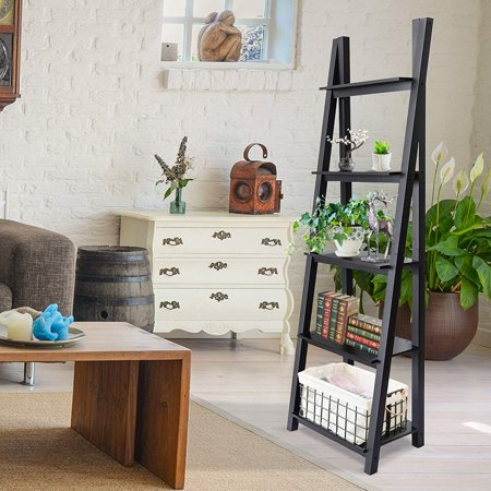 official photos 03d82 95543 ORNO TTOBE 5-Tier Leaning Bookshelf Free Standing Wood Ladder Shelves  A-Frame,Espresso