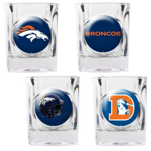 Great American Products Denver Broncos Shot Glass Set 4pc Collectors Shot Glass Set