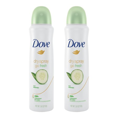 (2 Pack) Dove Dry Spray Antiperspirant Deodorant Cool Essentials 3.8 oz