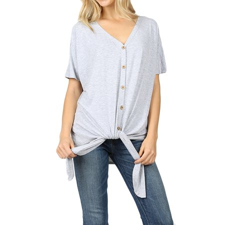 Women Short Sleeve V Neck Button Down T Shirts Tie Front Knot Loose Blouse Casual