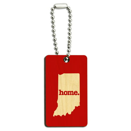 - Indiana IN Home State Wood Wooden Rectangle Key Chain - Solid Red