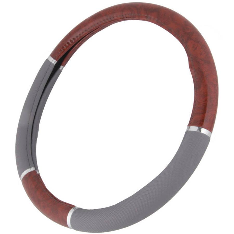 BDK Dark Wood Grain Steering Wheel Cover for Car SUV Van, Premium Syn Leather, Gray Beige Black Wood