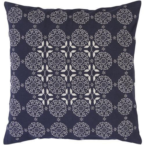 """18"""" Elegant Snowflakes Navy Blue and White Christmas Throw Pillow"""