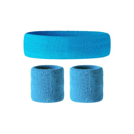 Awkward Styles Sweatband Set Yoga Wristband and Headband Perfect for Basketball Tennis Gym Running Fitness 80s Party Accessories or 4th of July Party Accessories - Retro Style Soft Cotton (Headband Set)