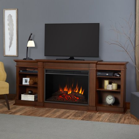 Eliot Grand Entertainment Center Electric Fireplace in Vintage Black Maple by Real (Real Flame 72 Tv Stand With Electric Fireplace)