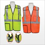 3asafety C2411-L 5 Point Lime Breakaway Vest With Pockets - Large