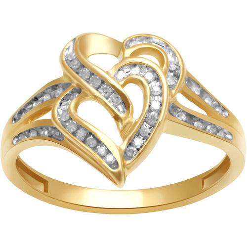 1/7 Carat T.W. Diamond 10kt Yellow Gold Double Heart Ring