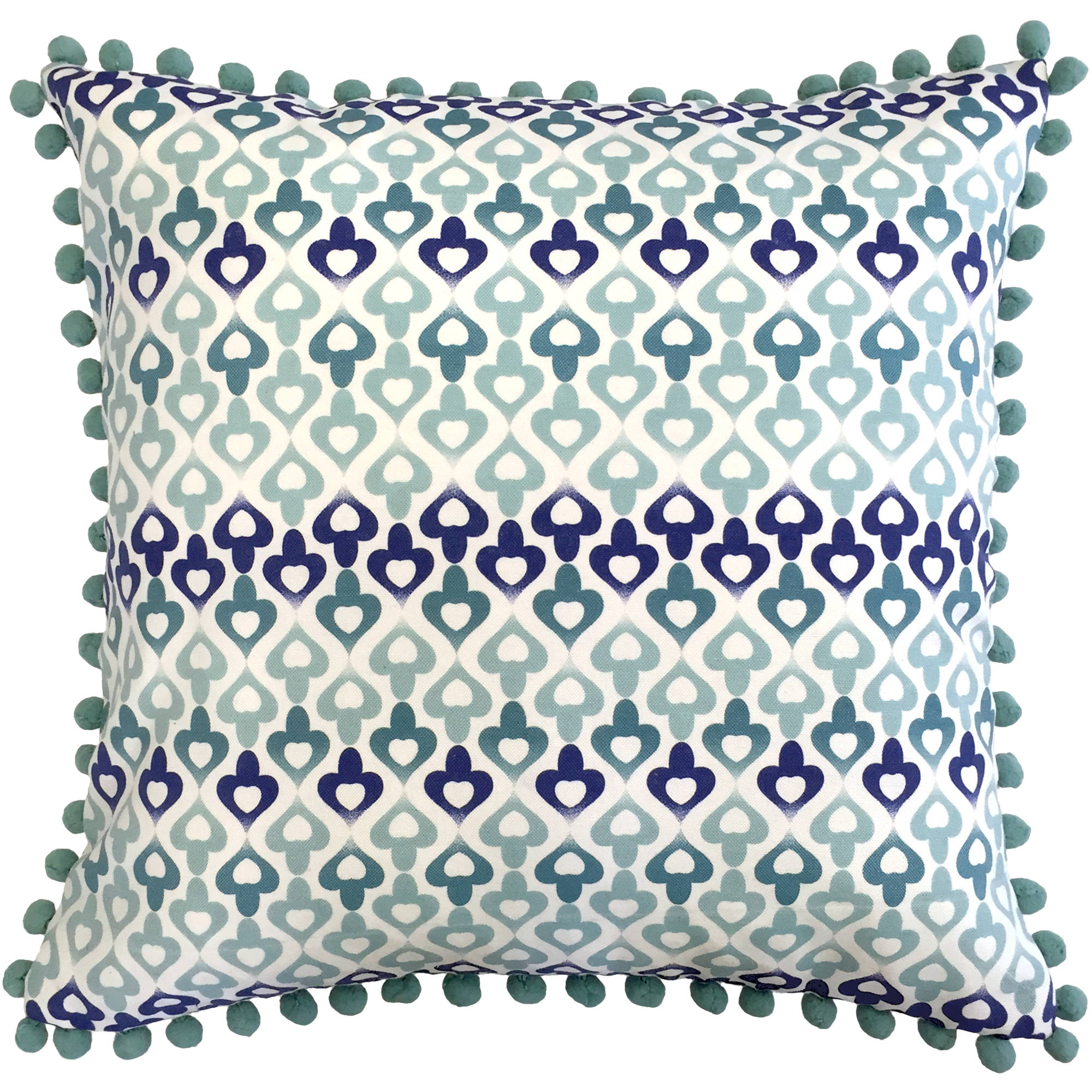 "Better Homes and Gardens Moroccan 18"" x 18"" Poly/Cotton Fabric Blue Printed Geometric Design Pillow with 4 Coordinating Pom Poms"