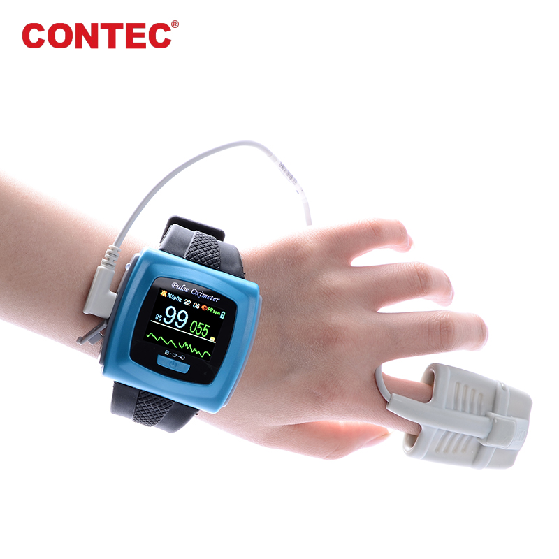 Wrist Pulse Oximeter CMS50F 24 hours recorder with PC software Color Display Rechargable