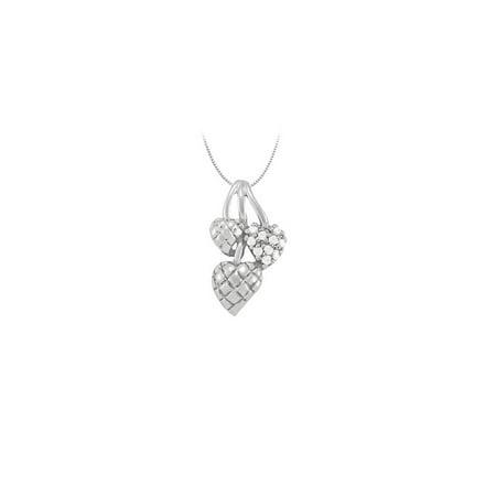April birthstone Diamond Heart Pendant in 14K White Gold 0.10 CT TDW - image 2 de 2