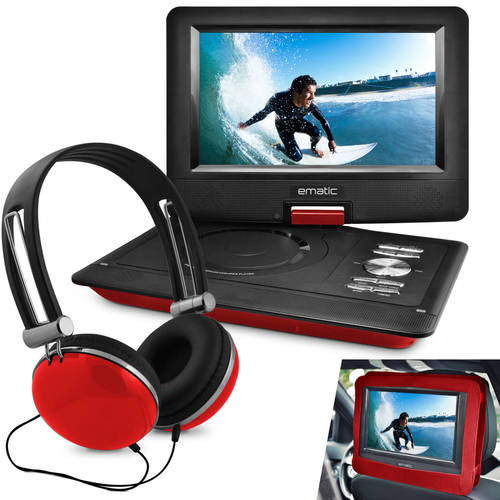 """Ematic 10"""" Portable DVD Player with Headphones and Car Headrest Mount by Ematic"""