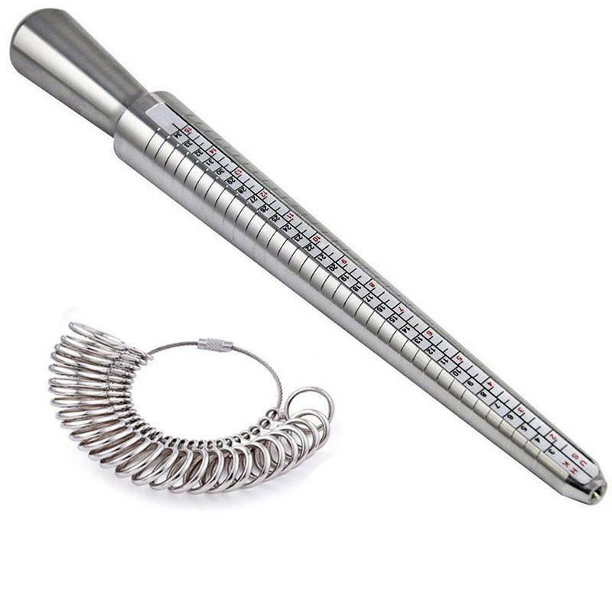 Metal Ring Sizer Mandrel Stick Finger Gauge Jewellery Metal Size Measuring Tool