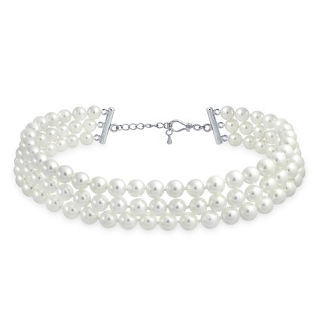 Bling Jewelry Bridal Simulated Pearl Three Strand Rhodium Plated Necklace 13 Inches