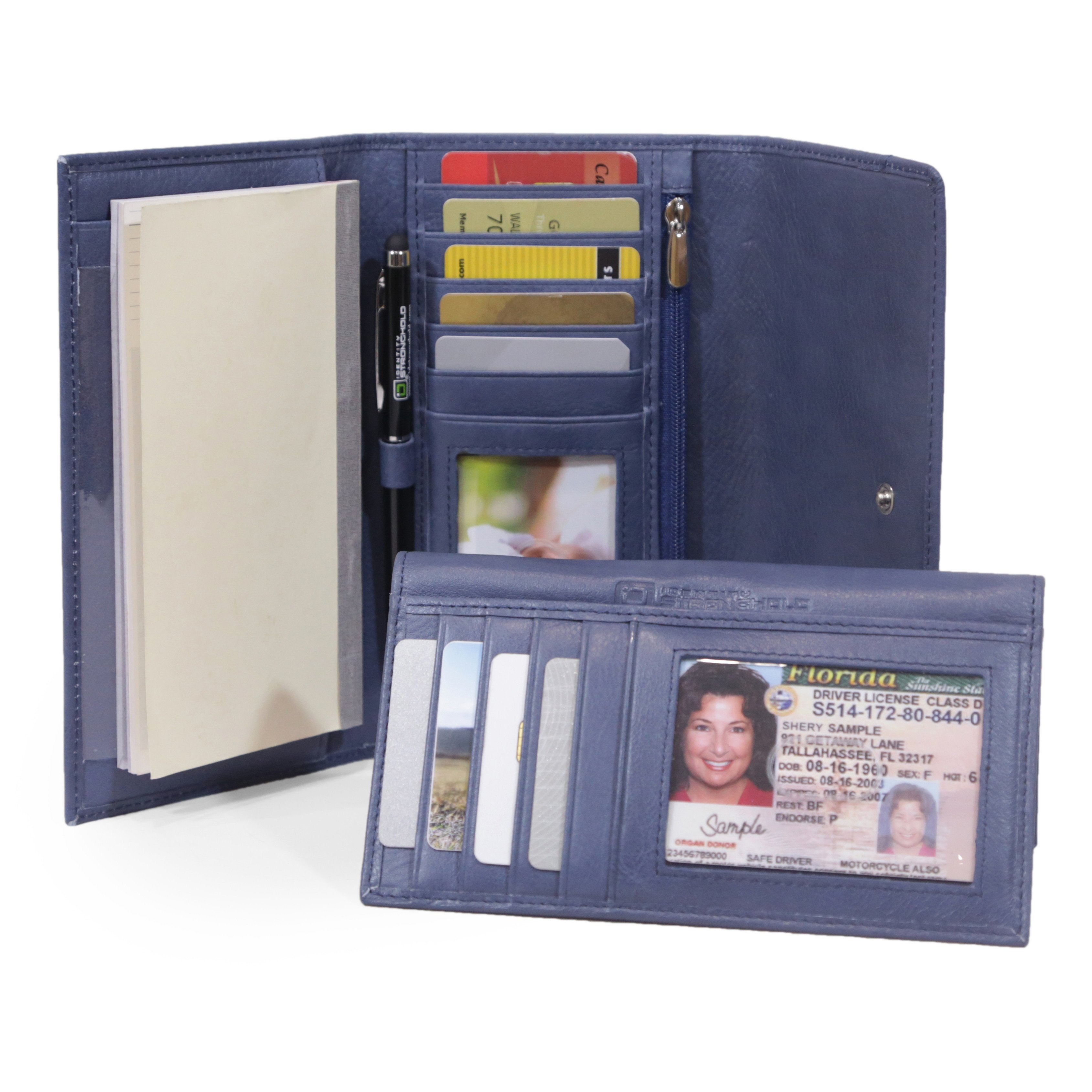 ID Stronghold Deluxe Checkbook Wallet - RFID Blocking Ladies Wallet - RFID Wallet for Women - Blue