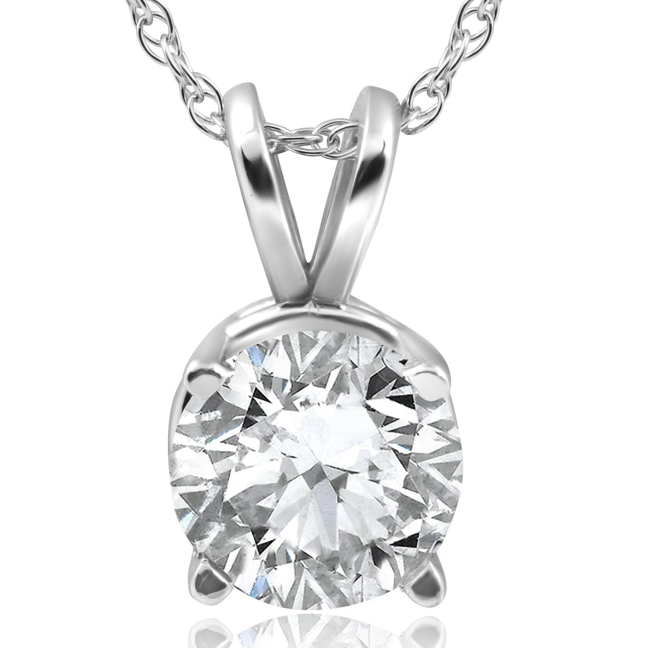 2CT Diamond Round Brilliant Solitaire Pendant & Chain 14k White Gold Enhanced