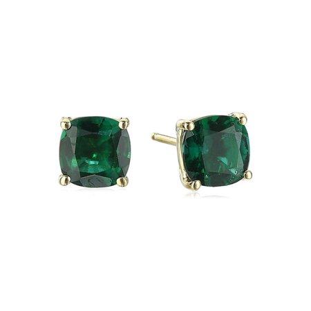 14k Yellow Gold 1.71 Carats Created Emerald Cushion-Cut Stud