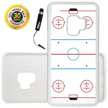 Custom Galaxy S9 Case (Ice Hockey Rink) Edge-to-Edge Rubber White Cover Ultra Slim | Lightweight | Includes Stylus Pen by Innosub