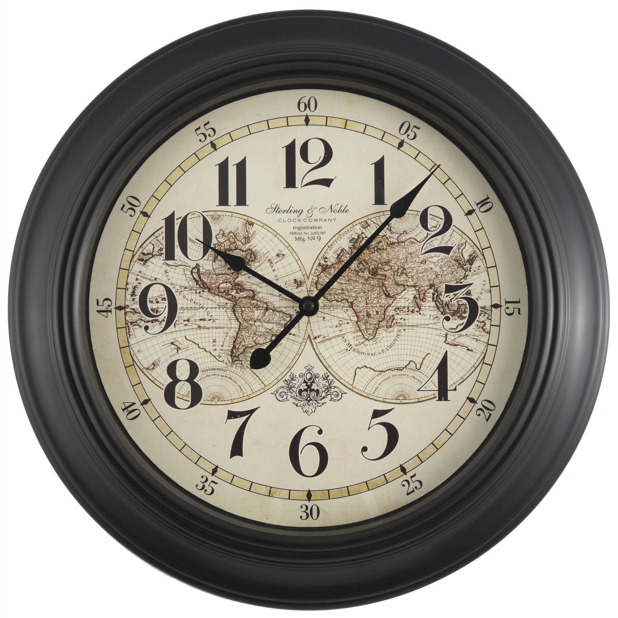"Mainstays 15.5"" Map Wall Clock"