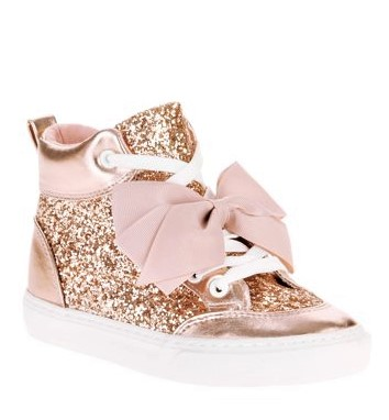 Jojo Siwa Girls' Rose Gold Crushed Glitter High Top