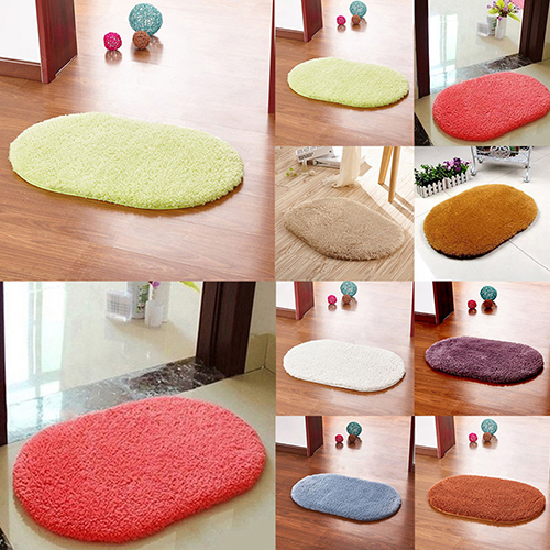 Girl12Queen Non-Slip Absorbent Home Bathroom Bedroom Door Floor Shower Oval Mat Rug Decor