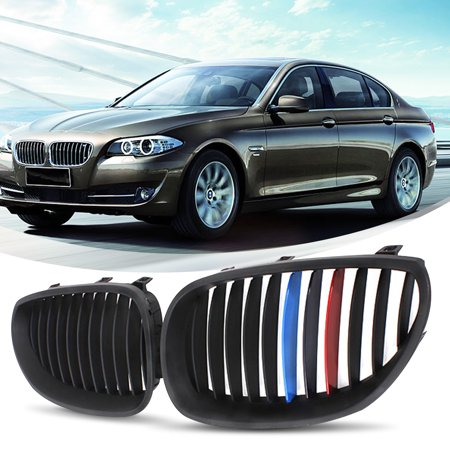 Pair Front M-Color Matte Black Kidney Grille Grill For BMW E60/E61 5-Series M5 2003 2004 2005 2006 2007 2008 2009 2010 ()