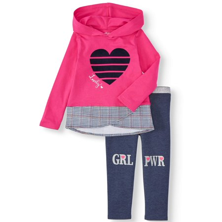 Outfits For Girl (Garanimals Long Sleeve Hoodie & Metallic Waistband Leggings, 2pc Outfit Set (Toddler)